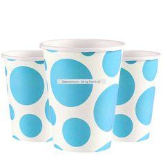 8 stk - Kopper - Dots - Turkis. -   Pappkrus i Dotsserien i akkurat passe størrelse for bursdag! Superstilig mønster med store og små dots, med spreke farger. Dette er pappkopper som rommer 266ml med brus, saft, juice, slush eller noe annet som er godt å drikke :) I pakken er det en rad på 8 stk. bursdagskopper. Dots, Tableware, Juice, Stitches, Dinnerware, Tablewares, Dishes, Place Settings
