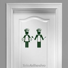 Nice icons of woman and man in the typical attire of the chefs. Wall Stickers Love, Decoration Stickers, Kitchen Wall Stickers, Wayfinding Signage, Wall Decor, Wall Art, Bathroom Signs, Wood Wall, Wall Design