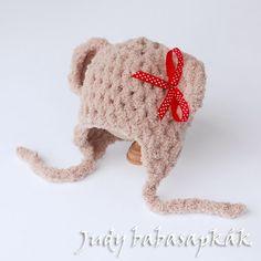 Judy babasapkák: Szőrmók maci sapka baba / újszülött fotózáshoz pihe-puha babafonalból, több színben is elérhető