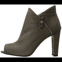 """Stuart Weitzman jump peep toe bootie Elastic goring and a bright zipper add great fit to this sleek suede bootie. Only worn once. Heel is approximately 3.75"""" Color is called stone. ****All '""""reasonable"""" offers will be considered (please don't offer half the list price) 😊 Stuart Weitzman Shoes"""