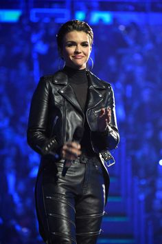 When she paired a black turtleneck with a leather jacket. | 11 Times Ruby Rose Changed The MTV EMAs Game