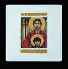 """Christmas Brooch """"Choctaw Virgin Mother and Child (Fr. True Colors, Colours, Royal Mail Postage, Presentation Cards, Father John, Gold Paper, Mother And Child, Postage Stamps, Brooches"""
