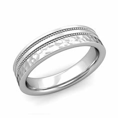 Customized milgrain wedding ring for men and women set in comfort fit band with your choice of a matte finish in or white, yellow or rose gold and platinum. Unique Mens Rings, Rings For Men, Purple Wedding Centerpieces, Bridal Shower Flowers, Bride And Groom Pictures, Right Hand Rings, Love Ring, Wedding Ring Bands, Or Rose