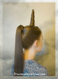 Unicorn Hairstyle For Halloween Or Crazy Hair Day . Unicorn hairstyle for Halloween or Crazy hair day.New hairstyle has women braiding unicorn Crazy Hair For Kids, Crazy Hair Day At School, Crazy Hair Days, Crazy Hair Day Girls, School Hair, Princess Hairstyles, Little Girl Hairstyles, Trendy Hairstyles, Wacky Hairstyles