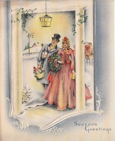 Vintage Greeting Card Christmas People Old-Fashioned Fancy Couple v322