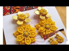Beaded Earrings, Statement Earrings, Diy Jewelry, Beaded Jewelry, Jewellery, Beading Projects, Bead Art, Beaded Flowers, Beading Patterns