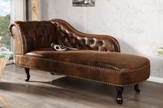 Casa-Padrino Chesterfield chaise longue/lounge chair antique brown from the house living room divan Sofa Design, Banquette Design, Canapé Design, Interior Design, Cuir Chesterfield, Home Decor Furniture, Furniture Design, Zweisitzer Sofa, Chaise Lounges
