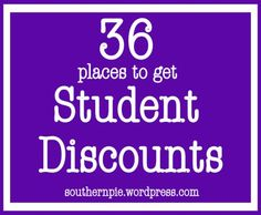 Student Discounts for College Kids. A must know for every poor college student! college saving tips, college savings plan, college finances College Years, College Girls, College Life, Dorm Life, College Essay, Education College, Health Education, Physical Education, College Hacks