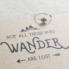 'Not All Who Wander' Silver Compass Ring