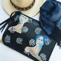 #SummerLook - Limited Edition #ElodieBlandaElena clutch by @blahblahblanda, My Bob hat & My Favourite Things scarf.  Available at #ElodieK on #MelrosePlace. For info, call 323.658.5060 or email info@elodiek.com.