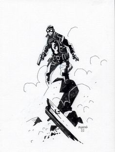 Lobster Johnson pin-up, pristine line art, so beautiful. Looks like Mike Mignola for sure.