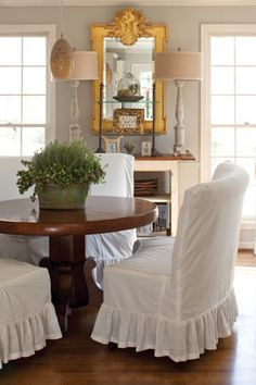 Turn your worn-in booth chairs into a cottage feel just by adding slipcovers!