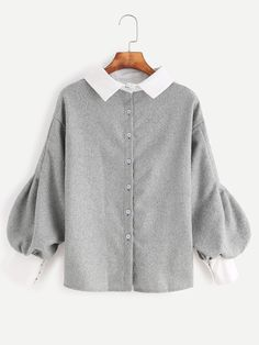 cf5ea2a86b13 Shop Contrast Trim Lantern Sleeve Button Back Blouse online. SheIn offers  Contrast Trim Lantern Sleeve