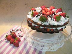 torta nutella panna e fragole fresche
