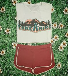 Take a Hike 70s Retro Short Sleeve Tee 70s style Muscle tee in the softest 100% cotton vintage style fabric made 100% in the USA Printed with water based ink to give this tee a super soft feel! ORDER