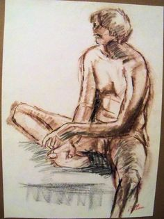 """MALE NUDE"" by Ruth Freeman DRAWN  CONTE STICKS FROM LIFE 15 1/4"" X 21 1/4"" #Realism"