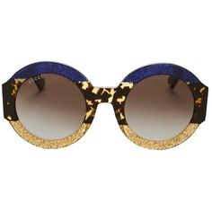 e25cf2793a9 Gucci Women s Oversized Colorblock Glitter Round Sunglasses (£410) ❤ liked  on Polyvore featuring accessories