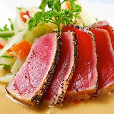 #directlyfrom #schmidt #zeevis #delicious #fresh #tuna #steak #fish #seafood #tasty #grilled #tataki #style #food #foodporn by directlyfrom.nl