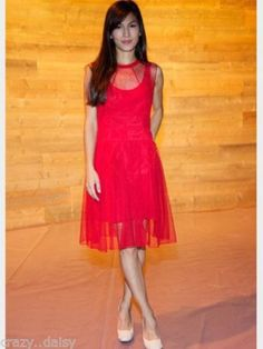 CARVEN-RED-TAFFETA-LACE-OVERLAY-MESH-PROM-DRESS-FLARED-SKIRT-COCKTAIL-PARTY