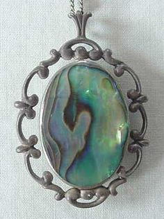 VINTAGE FLIP STYLE REVERSIBLE STONE .925 SILVER NECKLACE STONE JADE & ABALONE