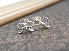 Tiny Bow Stud Earrings in Sterling Silver, Handmade, Minimalist, Everyday Wear, Bridal. $13.00, via Etsy.