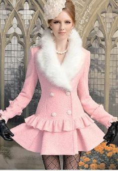 PINK COAT  DOUBLE-BREASTED WHITE FUR COLLAR FALBALA (I would love this this with a longer skirt!...R)
