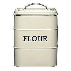 Living Nostalgia Vintage Flour Storage Tin, Cream