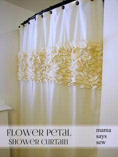 Flower Petal Shower Curtain-Girls bathroom