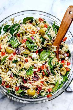 Easy Pasta Salad Recipe, Healthy Salad Recipes, Orzo Salad Recipes, Super Healthy Recipes, Summer Vegetarian Recipes, Vegetable Salad Recipes, Food Salad, Orzo Pasta Salads, Vegan Recipes