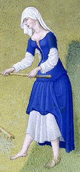 Limbourg Brothers, Les Très Riches Heures du Duc de Berry (1412). Front-laced kirtle w/o waistseam. [source = Marie-Chantal Cadieux]