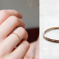 14k rose gold thin hammered stacking ring