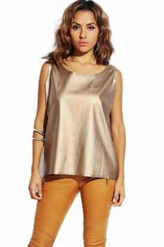 2LUV Women's Faux Leather Boxy Shell Tank Top