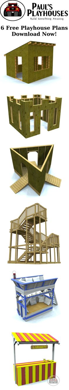 Six free playhouses and structures you can download now and start building today. #playhousebuildingplans