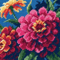 "Dimensions Zinnias Mini Needlepoint Kit-5""X5"" Stitched In Thread (5""X5"" Stitched In Thread) (Canvas)"