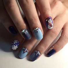 Beautiful new year's nail, Beautiful winter nails, Cartoon nails, Cheerful nails, Cool nails, Nails with rhinestones, New year nails ideas 2017,…
