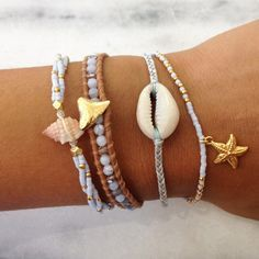 Sky Blue Shell Bracelet on Vanilla Cord - Chan Luu