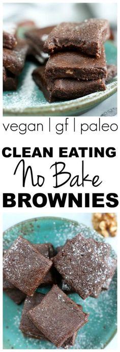 Clean Eating No Bake Brownies Recipe #paleo #vegan #glutenfree #dairyfree #healthy #chocolate #brownies #dessert