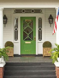 Bright emerald green front door- Sabrina this is a great color