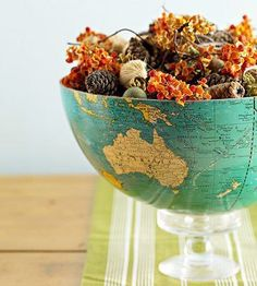 Pin for Later: 221 Upcycling Ideas That Will Blow Your Mind Globe Bowl Cut an old globe and turn it into a quirky display bowl to hold potpurri or other items. Source: Better Homes and Gardens Globe Projects, Craft Projects, Craft Ideas, Decor Ideas, Fall Projects, Diy Ideas, Old Globe, Diy And Crafts, Arts And Crafts