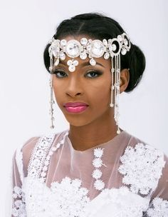 """Former Miss Nigeria beauty queen Ene Maya Lawani Is ready to show the world that there's more to her than just a pretty face, The ex-miss Nigeria who runs her own label called """"The Ene … Miss Nigeria, Fascinator Hairstyles, Hair Fascinators, African American Weddings, Hijab Style, Bride Hair Accessories, Head Accessories, Black Bride, Wedding Attire"""