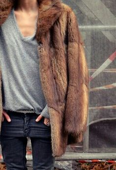 fur coat, knit & jeans #style #fashion