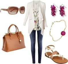"""spring floral top"" by lulums on Polyvore"