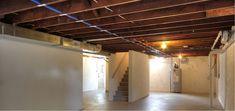 unfinished-basement-ceiling-lighting-ideas