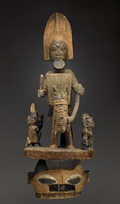 Africa | 'Epa' mask from the Yoruba people of Nigeria | Wood and pigment | 20th century