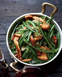 Haricots Verts with Chanterelles Recipe on Food & Wine  To make this lovely vegetable side dish, blanched green beans are split lengthwise, which gives them a more delicate texture; they're sautéed in butter and oil with tender chanterelles before serving.