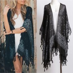 """DAISY spring paisley kimono - BLACK NO TRADE. PRICE FIRM Paisley Kimono with Tassel 100% Polyester Dimension 45"""" x 28.5"""" Tassel Length 3"""". AVAILABLE IN IVORY & BLACK Bellanblue Accessories Scarves & Wraps"""