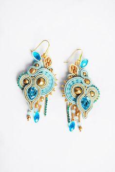 Soutache earrings, swarovski earrings, azure earrings, beaded soutache, embroidery earrings, long earrings, soutache jewelry, OOAK jewelry