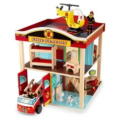 Fire Station Set for Toddlers - http://www.gotobaby.com/ - Kids will love pretending they're real-life heroes when they play with this adorable wooden fire station!
