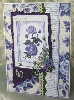34. Handcrafted 50th birthday card #handmade #birthday #roses