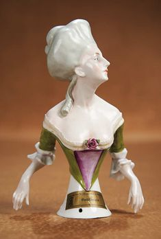 """The Vanity Fair - Strong Museum Half Dolls: 104 German Porcelain Half Doll """"Belle of the Ball"""" by Goebel with Original Label"""